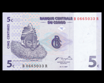 Congo, P-081, 5 centimes, 1997