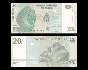 Congo, P-94, 20 francs, 2003