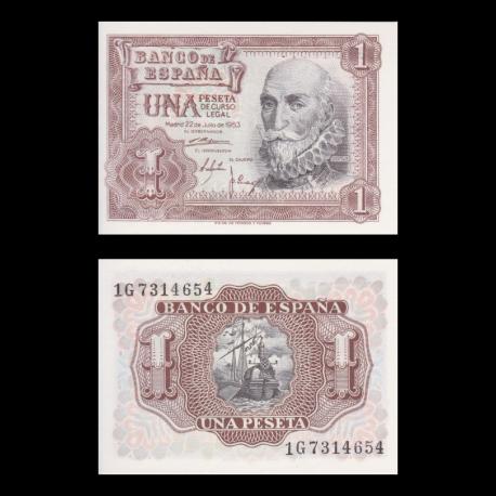 Spain, P-144, 1 peseta, 1953