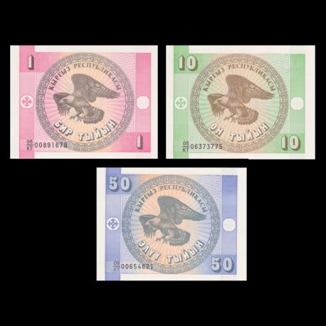 Kirghizistan, série de 3 billets