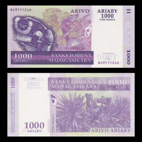 Madagascar, P-89b, 1000 ariary, 2004