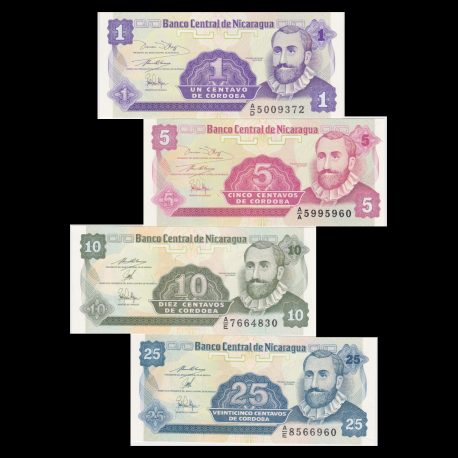 Nicaragua, lot de 4 billets, 1991