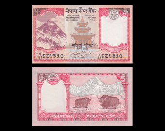 Nepal, p-60b, 5 roupies, 2010