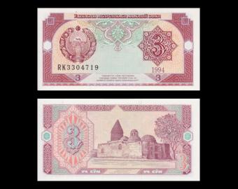 Ouzbekistan, P-74, 3 sum, 1994