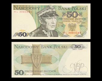 Pologne, P-142c, 50 zlotych, 1988