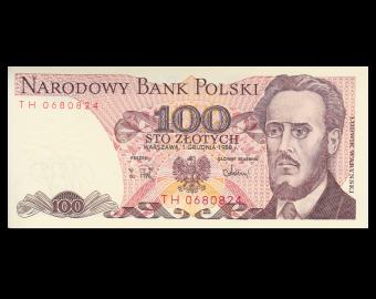 Pologne, P-143e, 100 zlotych, 1988