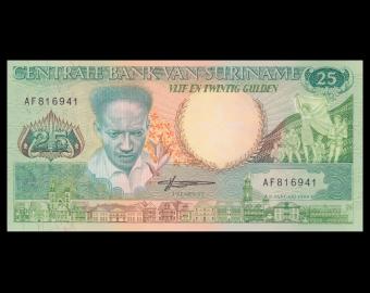 Suriname, P-132b, 25 gulden, 1988