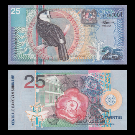 Suriname, p-148, 25 gulden, 2000