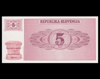 Slovénie, P-03, 5 tolar, 1990