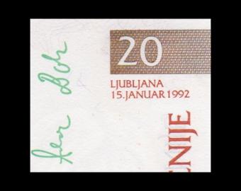 Slovénie, P-12, 20 tolarjev, 1992