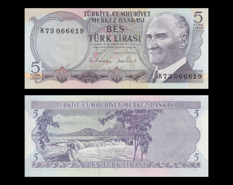 Turquie, P-185, 5 lira, L.1970