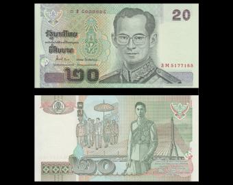 Thailande, P-109, 20 baht, 2003