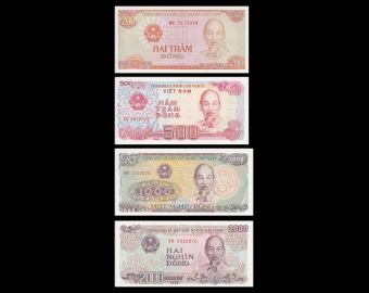 Vietnam, lot de 4 billets, 3700 dông