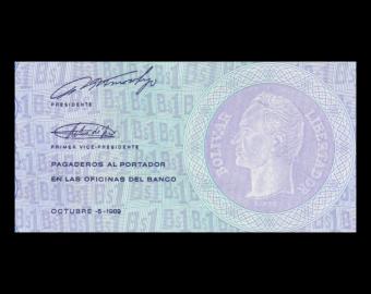 Venezuela, P-068, 1 bolivare, 1989