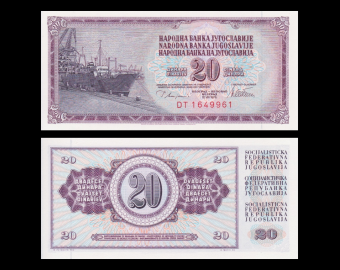 Yougoslavie, P-088a, 20 dinara, 1978