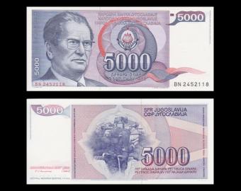 Yougoslavie, P-093a, 5 000 dinara, 1985
