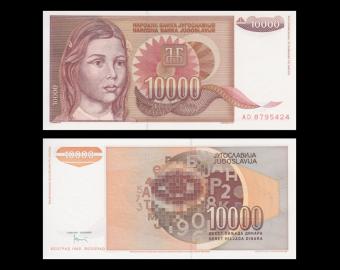 Yugoslavia, P-116a, 10 000 dinara, 1992