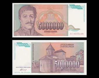 Yougoslavie, P-132, 5 000 000 dinara, 1993