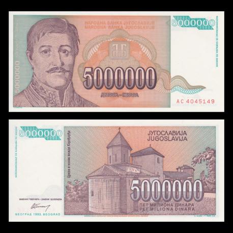Yougoslavie, p-132, 5000000 dinara, 1993