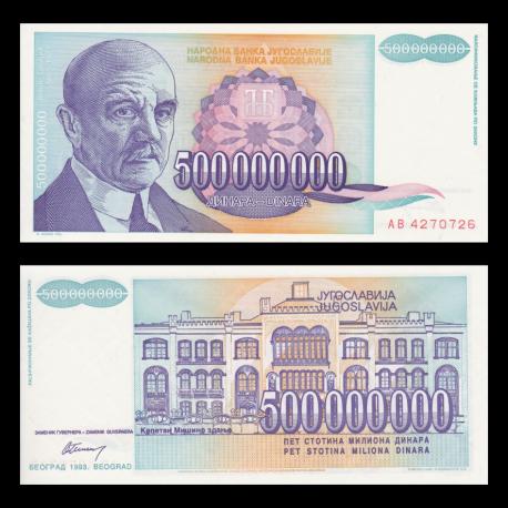 Yugoslavia, p-134, 500000000 dinara, 1993