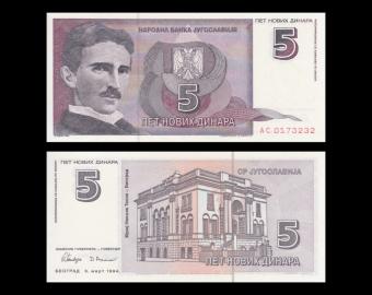 Yugoslavia, P-148, 5 dinara, 1994 (Nikola Tesla)
