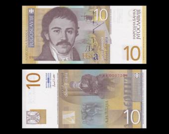 Yugoslavia, P-153b, 10 dinara, 2000