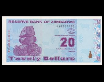 Zimbabwe, P-95, 20 dollars, 2009