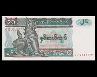 Myanmar, P-72, 20 kyats, 1994