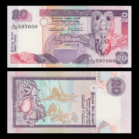 Sri Lanka, p-109, 20 roupies, 1995