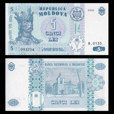 Moldavie, P-09f, 5 lei, 2009