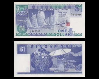 Singapour, P-18a, 1 dollar, 1987
