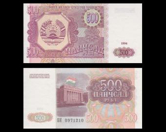 Tadjikistan, P-08, 500 roubles, 1994