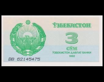 Ouzbekistan, P-62, 3 sum, 1992