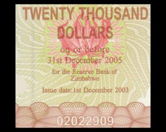 Zimbabwe, P-023f, 20000 dollars, 2005