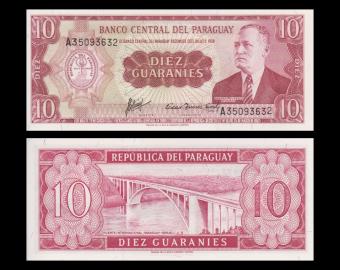Paraguay, p-196b, 10 guaranies, 1963