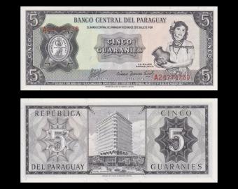 Paraguay, P-195b, 5 guaranies, 1963