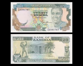 Zambie, P-32b, 20 kwacha, 1989-91