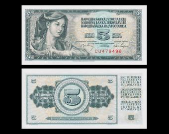 Yougoslavie, P-081b, 5 dinara, 1968