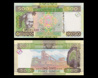Guinea, P-47, 500 francs, 2015