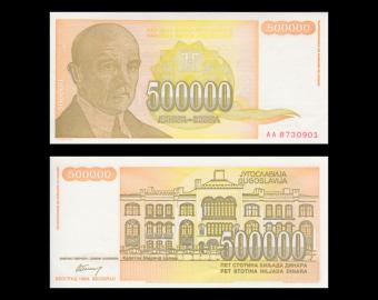 Yougoslavie, P-143, 500 000 dinara, 1994, PresqueNeuf