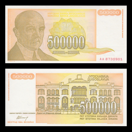Yugoslavia, P-143, 500 000 dinara, 1994