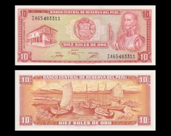 Peru, P-112, 10 soles de oro, 1976, Presque Neuf / a-UNC