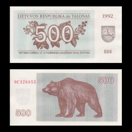 Lituanie, P-44, 500 talonu, 1992