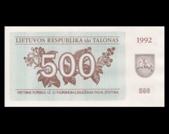Lituanie, P-44, 500 talonas, 1992