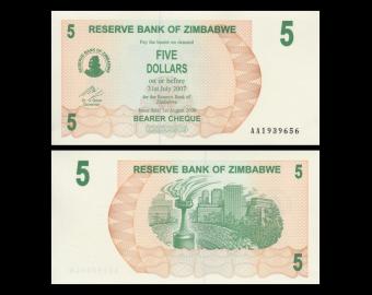 Zimbabwe, P-38, 5 dollars, 2006, P-Neuf / A-UNC