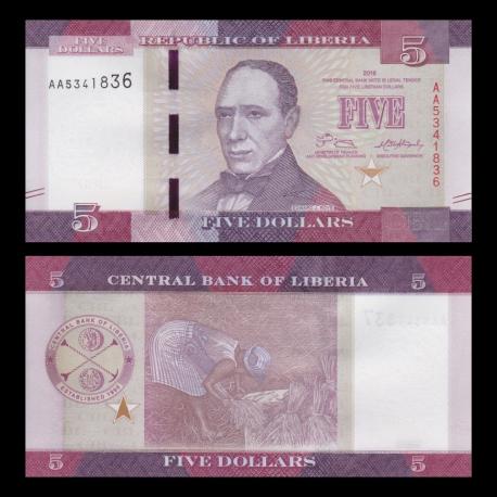 Liberia, p-31a, 5 dollars, 2016